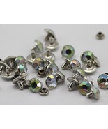 6mm Crystal_AB H702 Jet Acrylic Rhinestone Rivets For Garments - 25 Pieces - $7.19