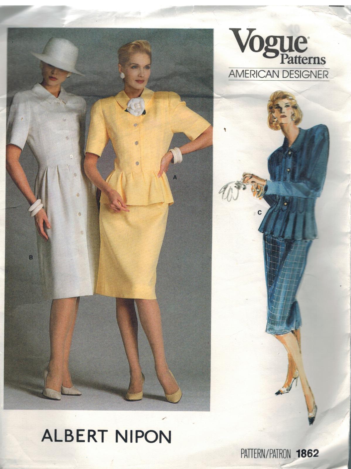 1862 Vogue Cartamodello Misses Vestito Top Gonna Peplo Albert Nipon Design 14