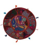 "22"" Indian Vintage Floor Pillow Cover Throw With Bohemian Patchwork Burg... - $17.81"