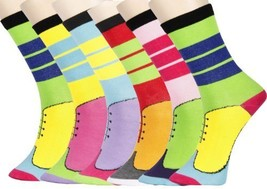 Lady's Novelty Stripe Crew Socks - 6 Pairs Assorted Colors Size 9-11 (9-... - $11.87