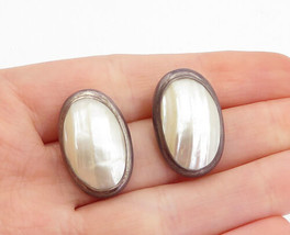 925 Sterling Silver - Vintage Mother Of Pearl Oval Dome Drop Earrings - ... - $32.90