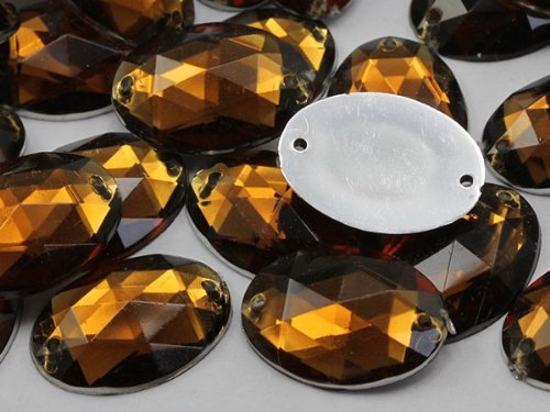 18x13mm Smokey Topaz CH25 Oval Flat Back Sew On Beads for Crafts - 50 Pieces
