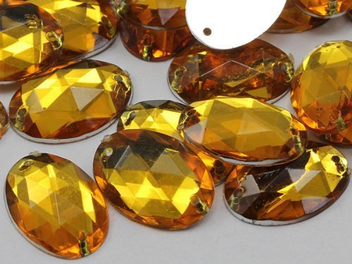 18x13mm Topaz CH16 Oval Flat Back Sew On Beads for Crafts - 50 Pieces [Kitchen]