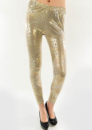 Fashion Mic's Womens Mixed Print Design Leggings (free size, gold leopard) - $14.84