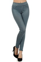 fashion MIC Women's Mini Checkered Slim Fit Pants Leggings (Large, Blue) - $19.79