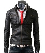 Men Zip Pocket Black Leather Jacket With Six Front Pockets, Mens leather... - $139.99