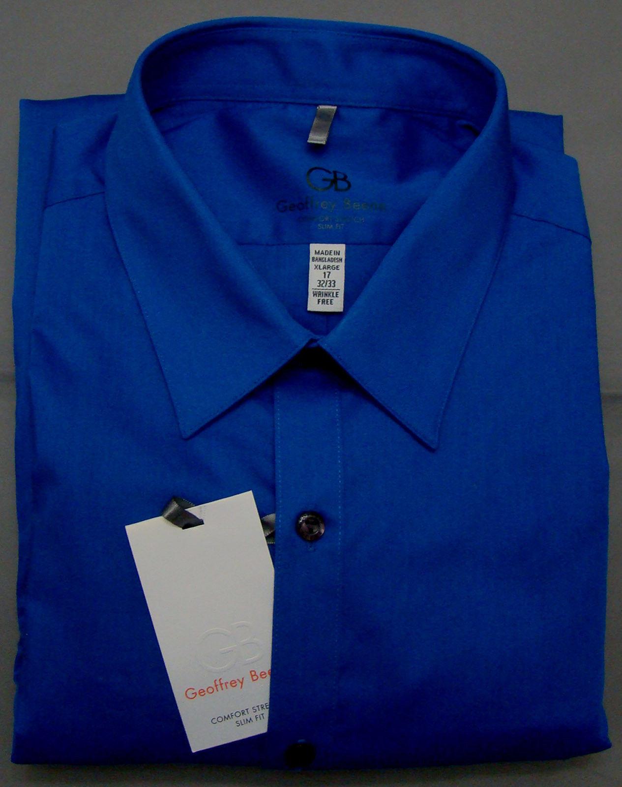Geoffrey beene blue velvet slim fit long sleeve dress for 17 33 shirt size