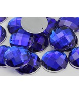 10mm Sapphire CH09 Round Flat Back Sew On Beads for Crafts - 100 Pieces - $5.71