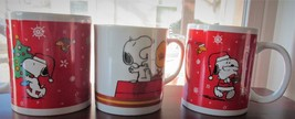 LOT 3 Vintage Peanuts Snoopy Woodstock Coffee Break Christmas Mugs Schulz - $16.99