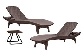 Chaise Lounges Table Set Outdoor Patio Pool Furniture 3 Pc Lounger Brown... - $598.88