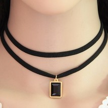Collier Femme Black Leather Choker Necklace (2), Fashion Round Charm Pen... - $8.89