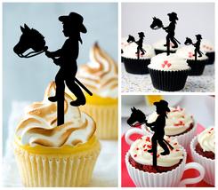 Wedding,Birthday Cupcake topper,silhouette little boy-girl cowboy Package 10 pcs - $10.00
