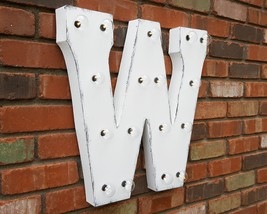 Letter W - SOLAR POWERED Rustic Vintage Metal Alphabet Marquee Light Up ... - $113.85+