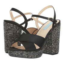 Betsey Johnson Ollie Black Satin Chunky Glitter Ankle Strap Platform Hee... - $73.76