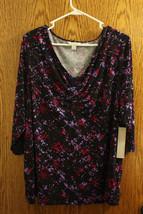 NWT Laura Ashley Black & Purple 3/4 Sleeve Top - Size Womens 3x - $27.99