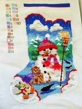 1995 Dimensions Christmas Stocking Snowman And Friends Finished Canvas  - $29.68