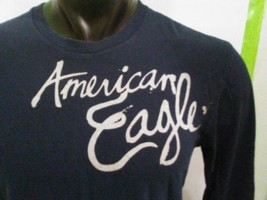 American Eagle Long Sleeve T Shirt Navy Blue Gray Mens Size XS - $8.32