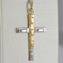 PENDENTIF CROIX OR JAUNE BLANC 750 18K,RECTANGLES,FINITION SATINÉE,MADE IN ITALY image 1
