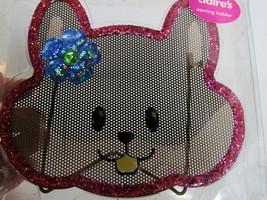 NIB  Pink Glitter Kitty Cat Earrings  Holder Storage Oranizer Glitter  C... - $12.38