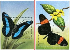 CENTRAL AFRICA 2001 African BUTTERFLIES  2 S/S  ** MNH CV$14.00 INSECTS - $2.72