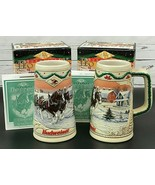 SET OF 2 Budweiser Anheuser Busch Holiday Clydesdale Steins 1996 NEW in Box - $24.24