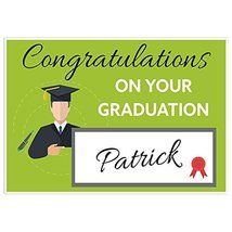 Green Student Figure Class of 2018 Graduation Banner Personalized Backdrop - $787,44 MXN