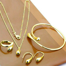4Pcs 925 Silver Women Wedding Drop Jewelry Set Necklace Bracelet Ring Ea... - $2.20