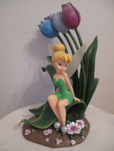 Extremely Rare! Walt Disney Peter Pan Tinkerbell Sitting on Tulips Big Statue - $346.50
