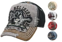 True Religion Men's Premium Vintage Distressed Buddha Trucker Hat Cap TR1101