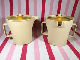 NEAT Vintage 1970s Tupperware Creamer & Sugar Set w/ Lids Almond & Harve... - $20.00