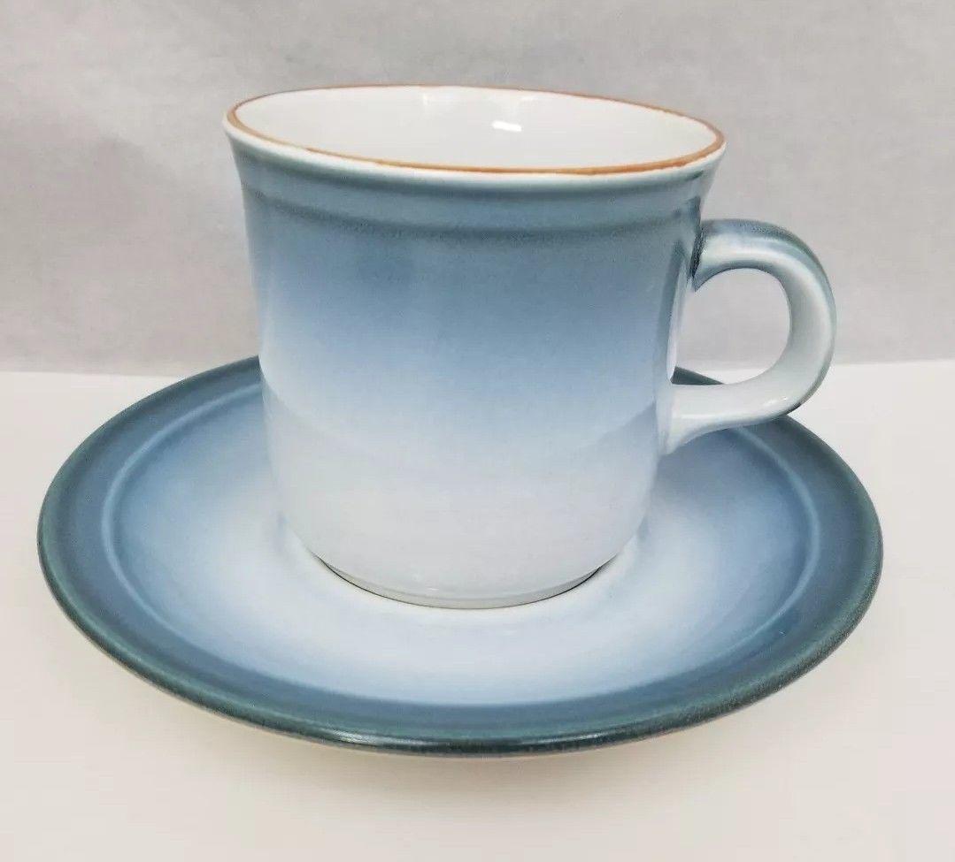 Nikko Gradiance Coffee Cup & Saucer Set of 4 Azure Leafette Dish Microwave Safe