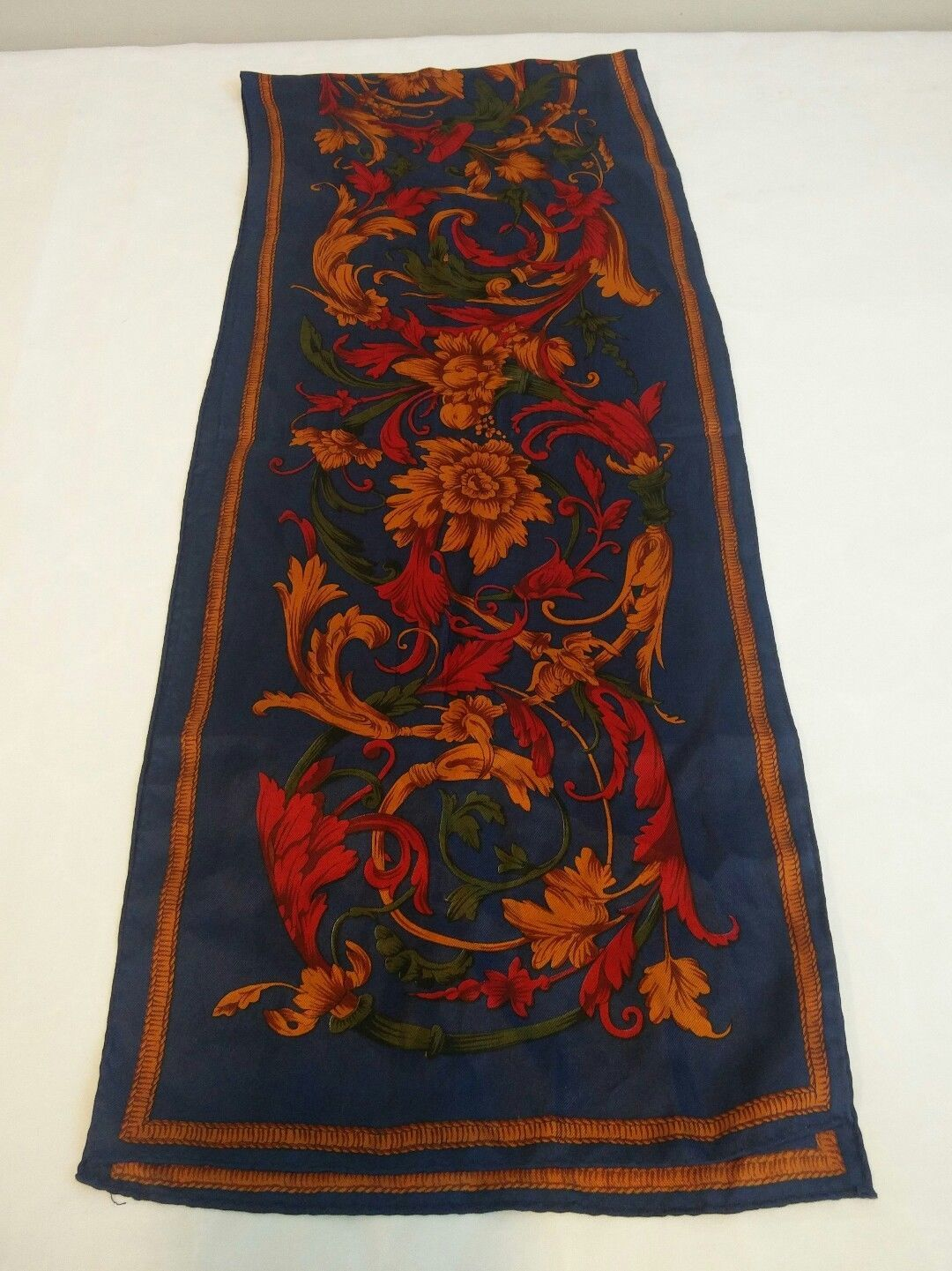 "Elaine Gold Blue Bold Flowers Rectangular Scarf Fabric Tag Missing 50"" x 10"""