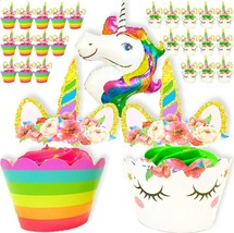 Unicorn Cupcake Toppers, Wrappers and One Giant Unicorn Balloon Makes 24... - $11.95