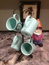 4 Vintage Corning Aqua Turquoise Green Mugs + Vintage 6 Cup Hanger - $35.00
