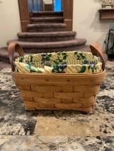 "1993 Longaberger Basket w/ Liner And Protector Leather Handles 3 1/2"" X ... - $18.00"