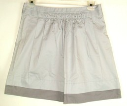 J. CREW Womens Gray Pleated Fit & Flare Skirt 100% Cotton Color block Si... - $16.78