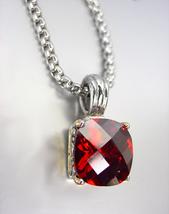 Designer Style Silver Gold BALINESE Red Garnet CZ Crystal Pendant Necklace - $29.99