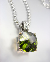 Designer Style Silver Gold BALINESE Olive Green CZ Crystal Pendant Necklace - $29.99