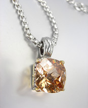 Designer Style Silver Gold BALINESE Brown Topaz CZ Crystal Pendant Necklace - $29.99