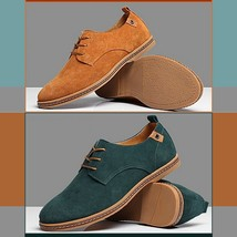 Men's Genuine Suede Solid Leather Lace Up Flat Sole Waterproof Oxford Shoes image 3