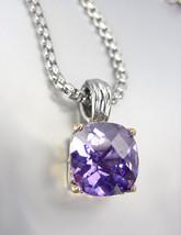 Designer Style Silver Gold BALINESE Purple Amethyst CZ Crystal Pendant N... - $29.99