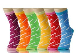 Fashion Mic Women's Casual Colorful and Playful 6 Assorted Pairs Crew So... - $8.90
