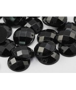 16mm Jet Black CH37 Round Flat Back Sew On Beads for Crafts - 40 Pieces - $5.44