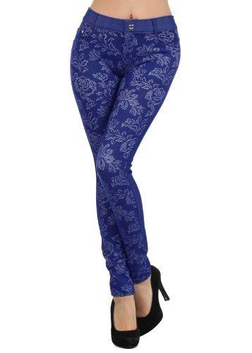 Fashion Mic Flower Pattern Jegging - Multiple Colors (M/L, royal blue) [Apparel]