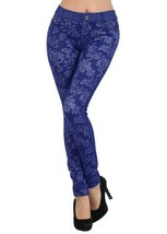Fashion Mic Flower Pattern Jegging - Multiple Colors (M/L, royal blue) [... - $27.71