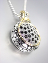 Designer Style Balinese Silver Dots Gold Black CZ Crystals Pendant Necklace - $29.99