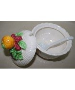 Lefton White Sugar Dish Bowl with Spoon with Fr... - $6.95
