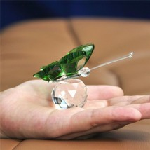 Butterfly Crystal Glass Marbles Figurines Miniatures Desk Ornaments Home... - $10.99
