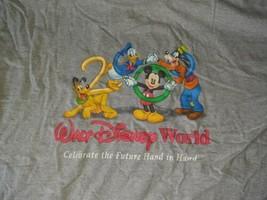 Vintage Walt Disney World Celebrate The Future Hand In Hand 2000 T SHIRT Gray  - $29.69