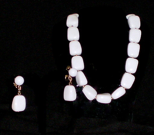 Trifari Lucite Necklace & clip on earrings